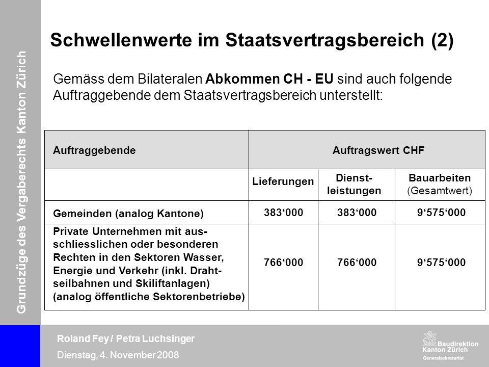 Grundzüge des Vergaberechts Kanton Zürich Roland Fey / Petra Luchsinger Dienstag, 4. November 2008 Gemäss dem Bilateralen Abkommen CH - EU sind auch f