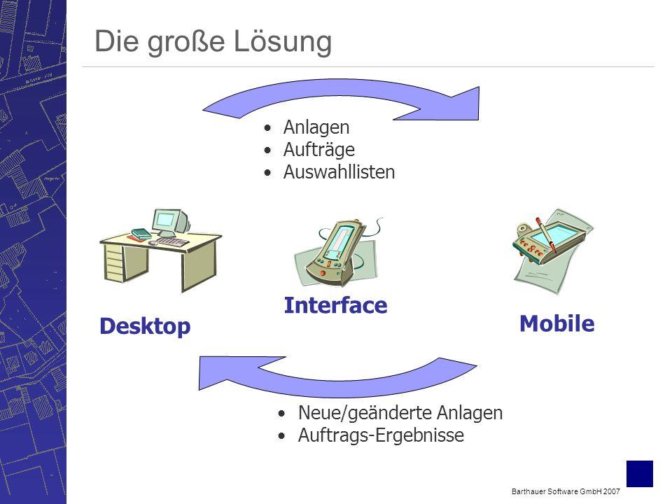 Barthauer Software GmbH 2007 Die große Lösung Desktop Interface Mobile Anlagen Aufträge Auswahllisten Neue/geänderte Anlagen Auftrags-Ergebnisse