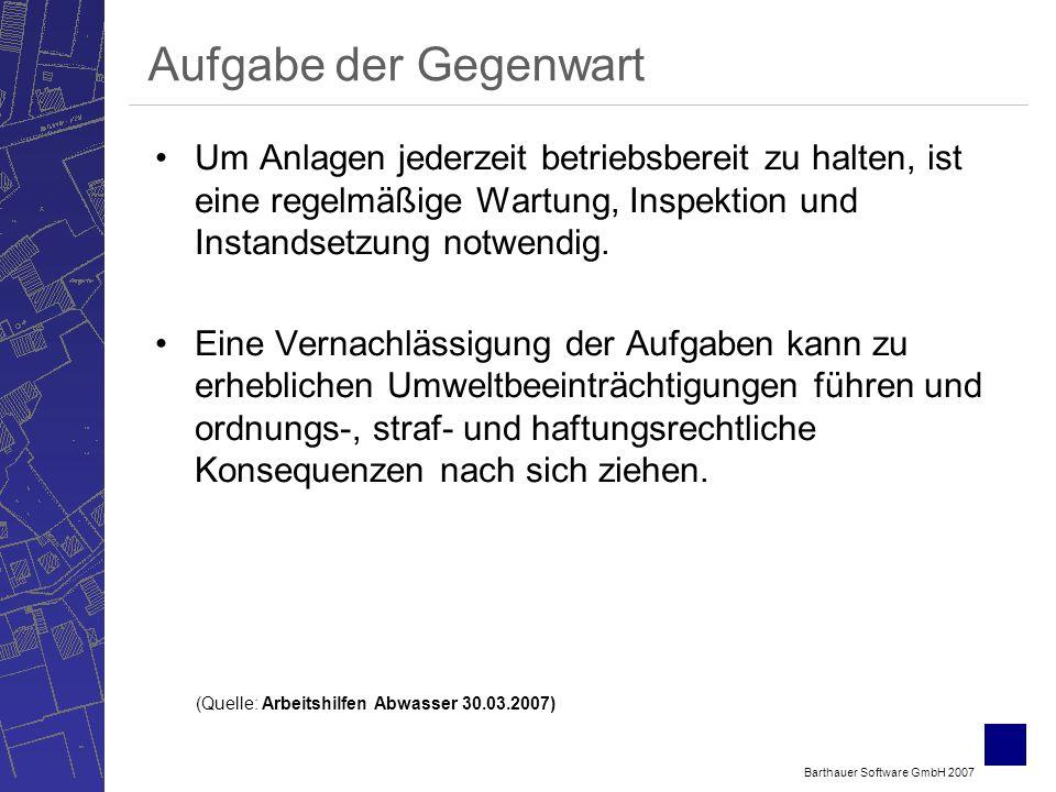 Barthauer Software GmbH 2007 Aufgabe der Gegenwart Um Anlagen jederzeit betriebsbereit zu halten, ist eine regelmäßige Wartung, Inspektion und Instandsetzung notwendig.