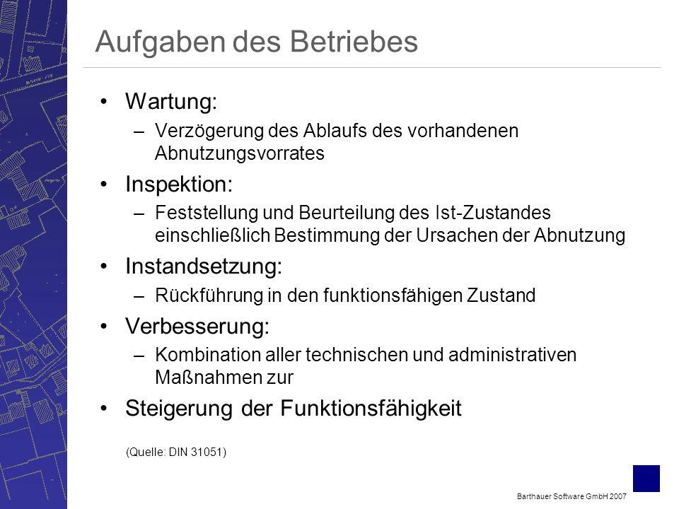 Barthauer Software GmbH 2007 Aufgaben des Betriebes Wartung: –Verzögerung des Ablaufs des vorhandenen Abnutzungsvorrates Inspektion: –Feststellung und