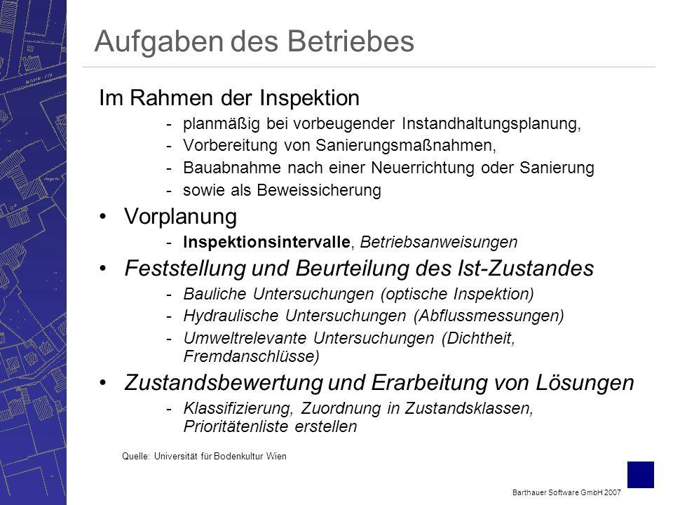 Barthauer Software GmbH 2007 Aufgaben des Betriebes Im Rahmen der Inspektion -planmäßig bei vorbeugender Instandhaltungsplanung, -Vorbereitung von Sanierungsmaßnahmen, -Bauabnahme nach einer Neuerrichtung oder Sanierung -sowie als Beweissicherung Vorplanung -Inspektionsintervalle, Betriebsanweisungen Feststellung und Beurteilung des Ist-Zustandes -Bauliche Untersuchungen (optische Inspektion) -Hydraulische Untersuchungen (Abflussmessungen) -Umweltrelevante Untersuchungen (Dichtheit, Fremdanschlüsse) Zustandsbewertung und Erarbeitung von Lösungen -Klassifizierung, Zuordnung in Zustandsklassen, Prioritätenliste erstellen Quelle: Universität für Bodenkultur Wien