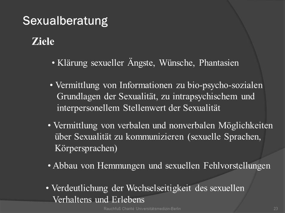 Rauchfuß Charité Universitätsmedizin-Berlin23 Sexualberatung Verdeutlichung der Wechselseitigkeit des sexuellen Verhaltens und Erlebens Ziele Klärung
