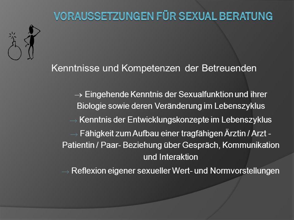 Kenntnisse und Kompetenzen der Betreuenden Eingehende Kenntnis der Sexualfunktion und ihrer Biologie sowie deren Veränderung im Lebenszyklus Kenntnis
