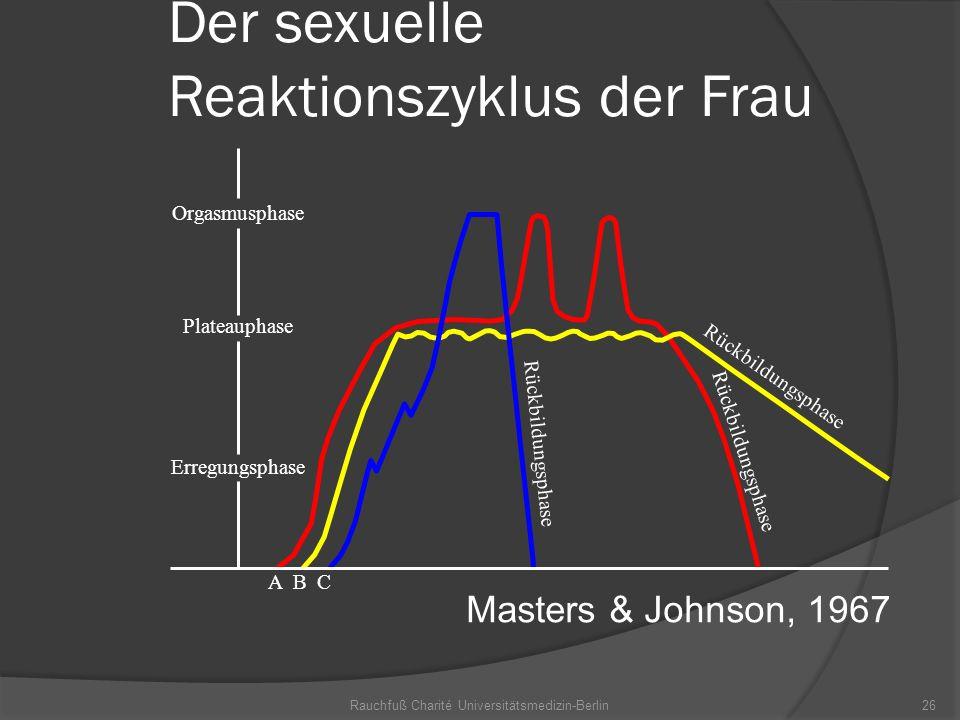 Rauchfuß Charité Universitätsmedizin-Berlin26 Der sexuelle Reaktionszyklus der Frau Orgasmusphase Plateauphase Erregungsphase Rückbildungsphase A B C