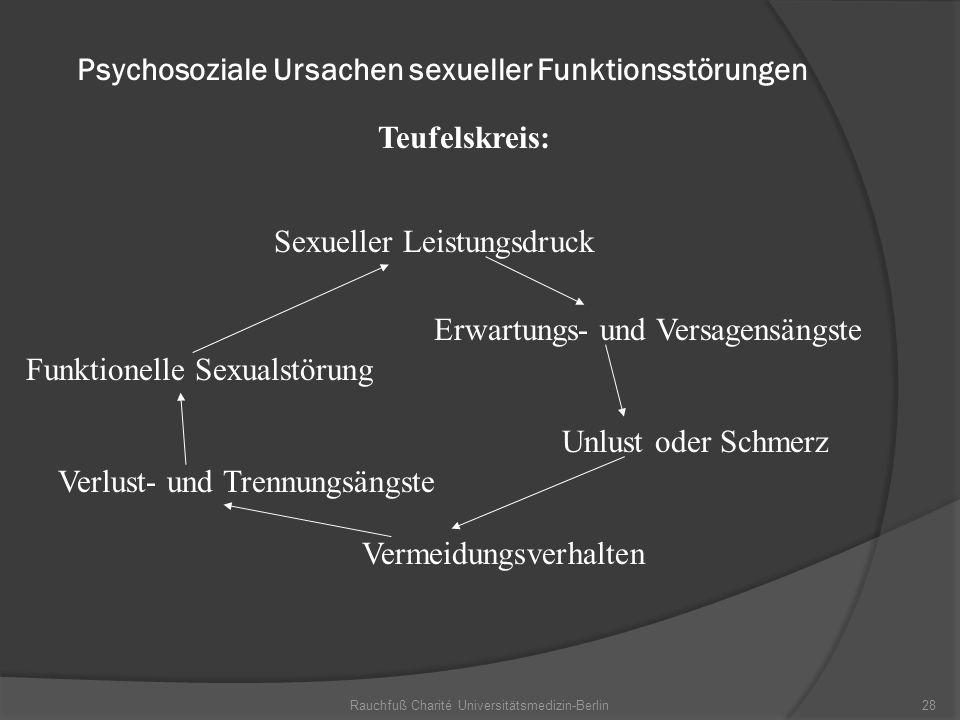 Rauchfuß Charité Universitätsmedizin-Berlin28 Psychosoziale Ursachen sexueller Funktionsstörungen Teufelskreis: Sexueller Leistungsdruck Erwartungs- u