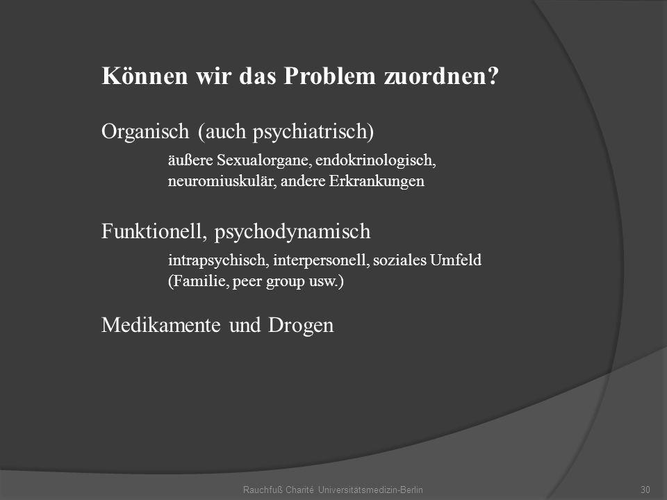 Rauchfuß Charité Universitätsmedizin-Berlin30 Können wir das Problem zuordnen? Organisch (auch psychiatrisch) äußere Sexualorgane, endokrinologisch, n