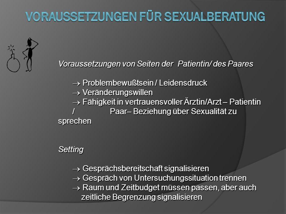 Voraussetzungen von Seiten der Patientin/ des Paares Problembewußtsein / Leidensdruck Problembewußtsein / Leidensdruck Veränderungswillen Veränderungs