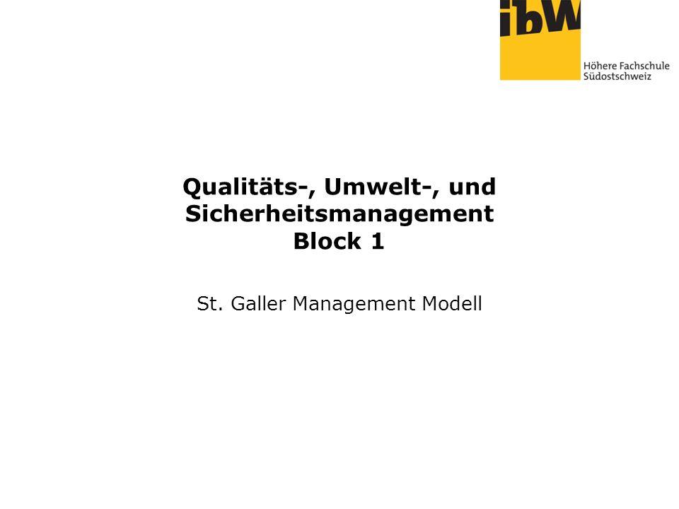 Qualitäts-, Umwelt-, und Sicherheitsmanagement Block 1 St. Galler Management Modell