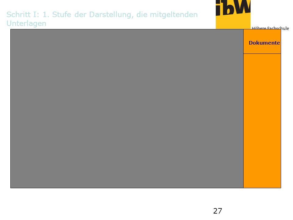 27 Dokumente 1 2 AB B C C D DE E F FG Schritt I: 1. Stufe der Darstellung, die mitgeltenden Unterlagen