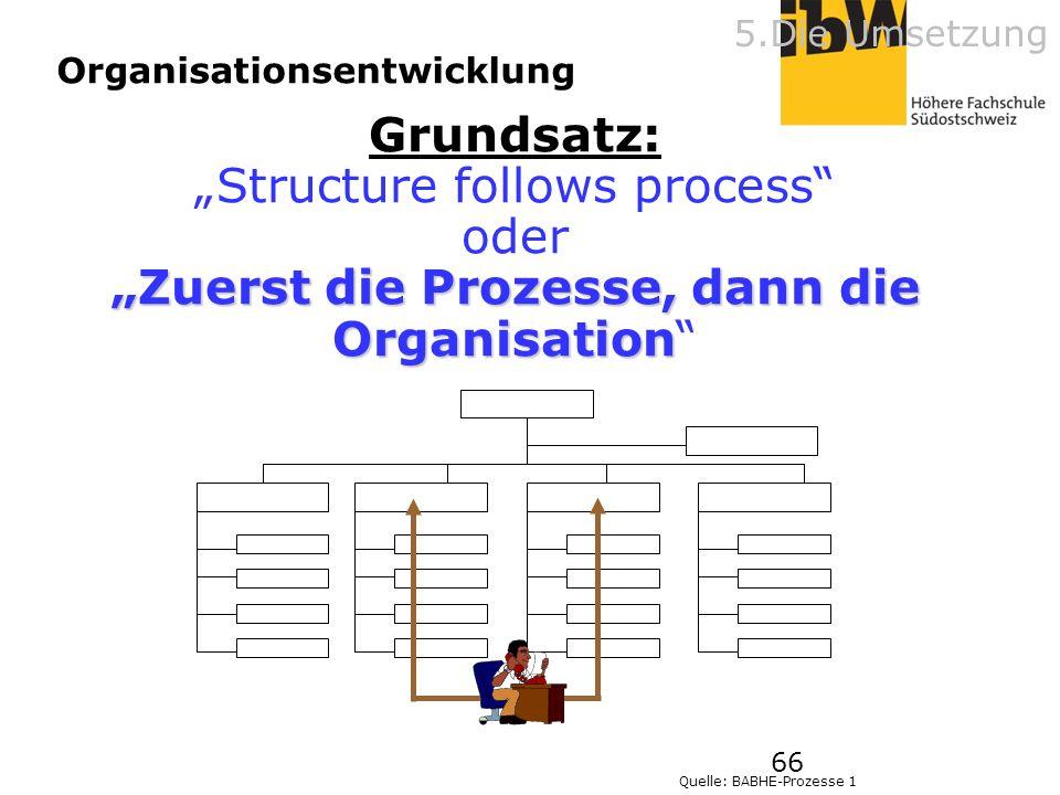 66 Grundsatz: Structure follows process oder Zuerst die Prozesse, dann die Organisation Quelle: BABHE-Prozesse 1 Organisationsentwicklung 5.Die Umsetz