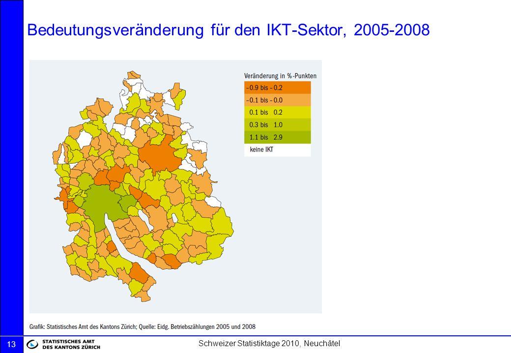 Schweizer Statistiktage 2010, Neuchâtel 13 Bedeutungsveränderung für den IKT-Sektor, 2005-2008