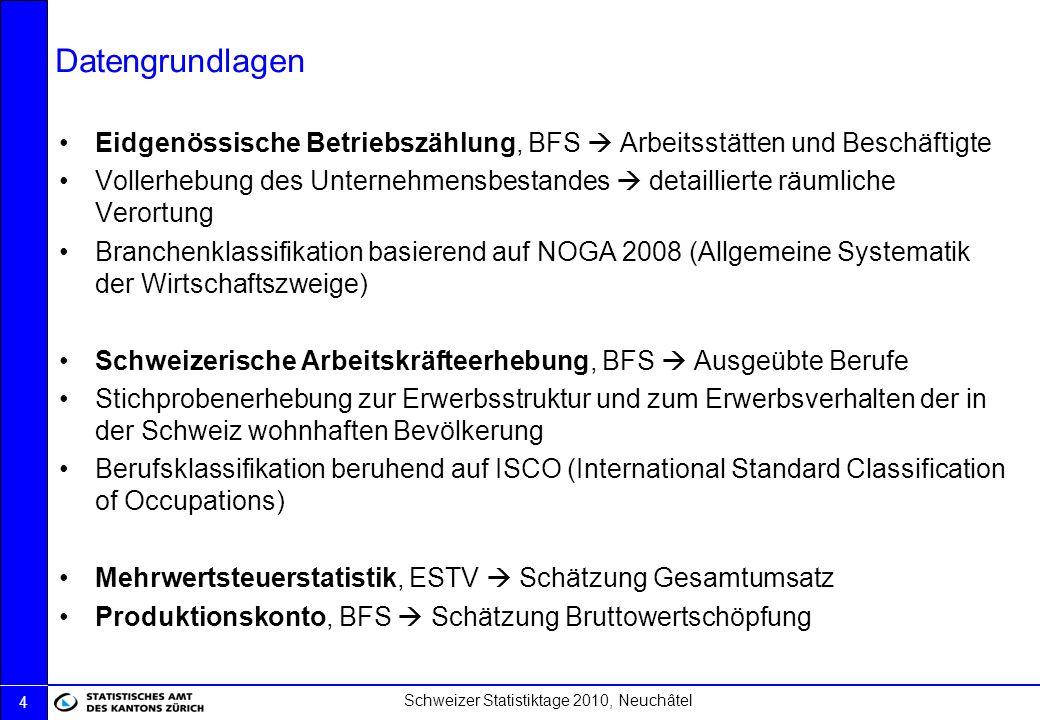 Schweizer Statistiktage 2010, Neuchâtel 5 Definition und statistische Abgrenzung OECD-Definition (nach ISIC) «Information Economy» als Kombination des «ICT sector» und «Content & Media sector» (OECD, 2009) IKT-Sektor: …compromise, limited to those industries which facilitate, by electronic means, the processing, transmission and display of information, and it excludes the industries which create the information… (OECD, 2009) Statistische Abgrenzung, NOGA 2008 (detailliert im Anhang): IKT-Herstellungsbranchen 26 Herstellung von Datenverarbeitungsgeräten, elektronischenund optischen Erzeugnissen IKT-Handelsbranchen 465 Grosshandel mit Geräten der Informations- und Kommunikationstechnik IKT-Dienstleistungsbranchen 582 Verlegen von Software 61 Telekommunikation 62 Erbringung von Dienstleistungen der Informationstechnologie und -dienstleistungen 631 Datenverarbeitung, Hosting und damit verbundene Tätigkeiten; Webportale 951 Reparatur von Datenverarbeitungs- und Telekommunikationsgeräten