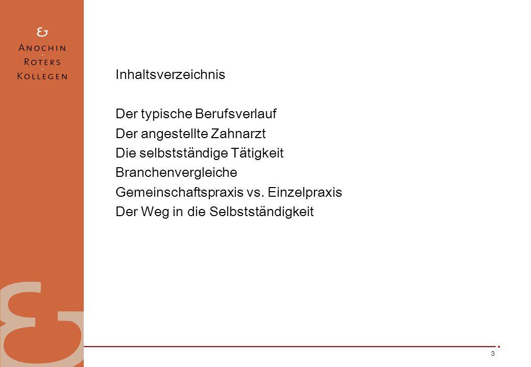 3 Inhaltsverzeichnis Der typische Berufsverlauf Der angestellte Zahnarzt Die selbstständige Tätigkeit Branchenvergleiche Gemeinschaftspraxis vs. Einze