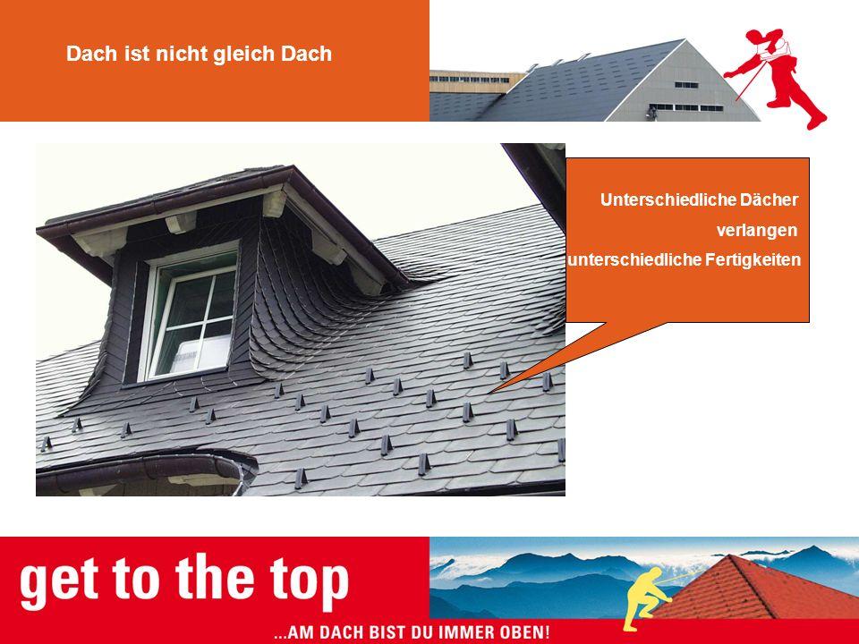 Dach ist nicht gleich Dach Unterschiedliche Dächer verlangen unterschiedliche Fertigkeiten