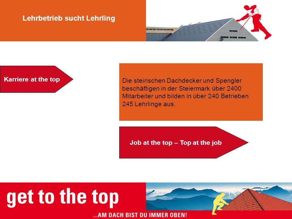 Die steirischen Dachdecker und Spengler beschäftigen in der Steiermark über 2400 Mitarbeiter und bilden in über 240 Betrieben 245 Lehrlinge aus. Lehrb