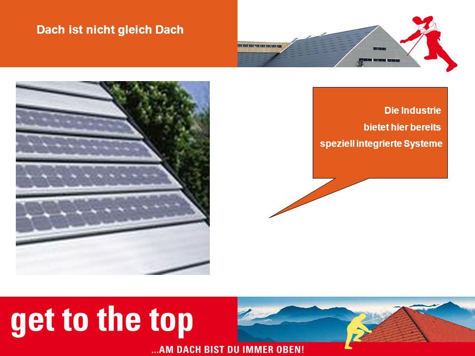 Dach ist nicht gleich Dach Die Industrie bietet hier bereits speziell integrierte Systeme