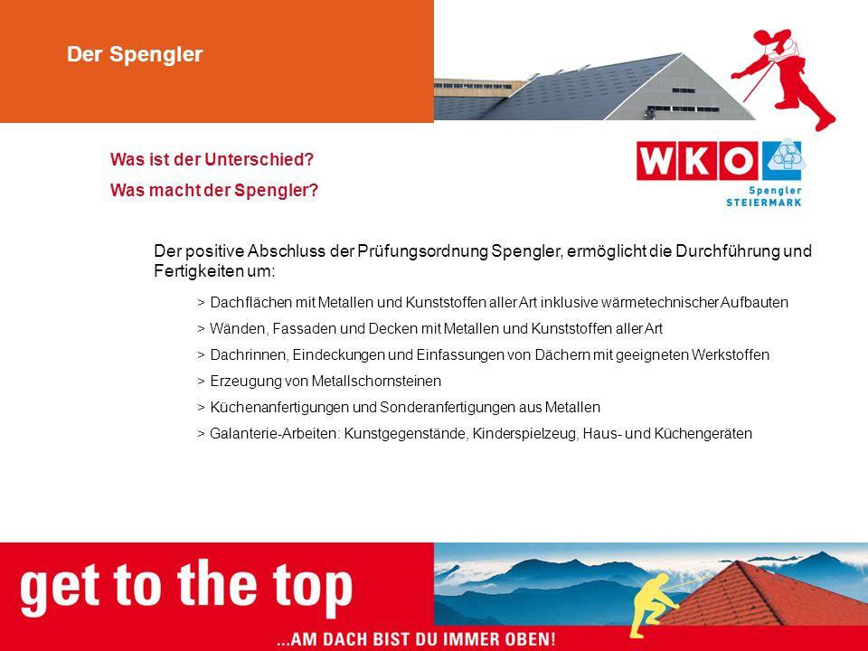 Was ist der Unterschied? Was macht der Spengler? Der positive Abschluss der Prüfungsordnung Spengler, ermöglicht die Durchführung und Fertigkeiten um:
