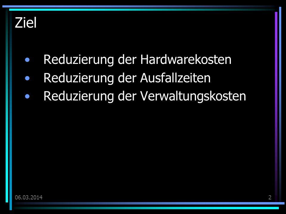 06.03.20142 Ziel Reduzierung der Hardwarekosten Reduzierung der Ausfallzeiten Reduzierung der Verwaltungskosten