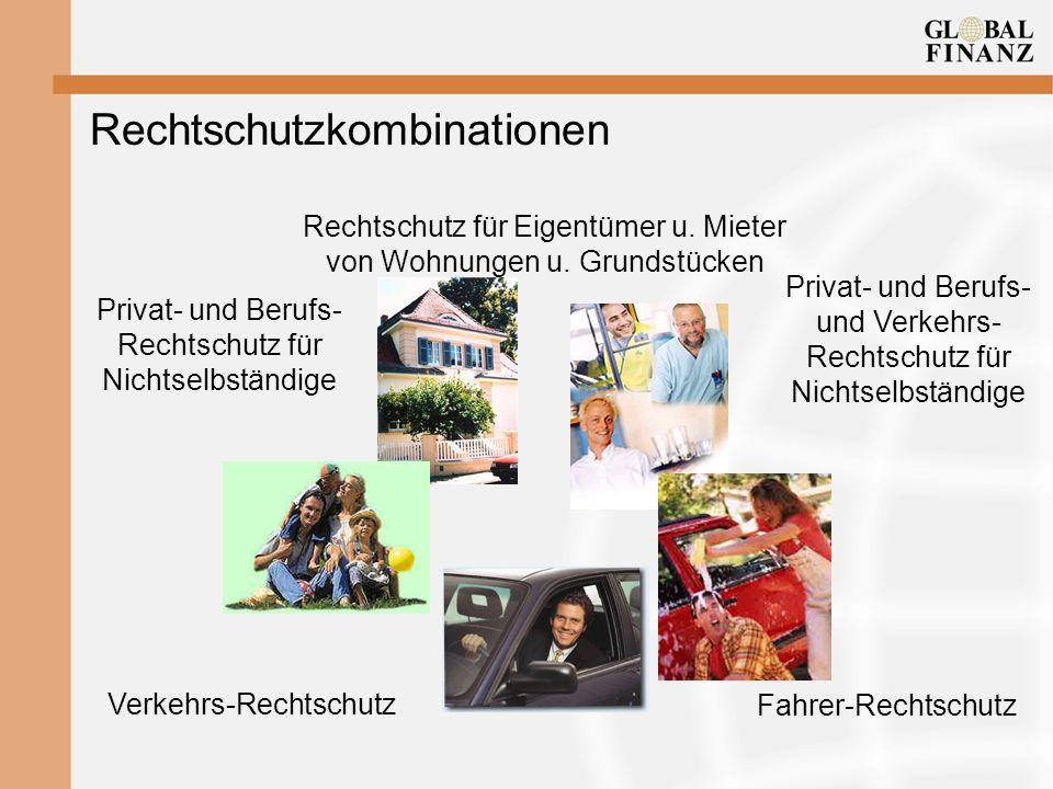 Rechtschutzkombinationen Verkehrs-Rechtschutz Fahrer-Rechtschutz Privat- und Berufs- Rechtschutz für Nichtselbständige Rechtschutz für Eigentümer u. M