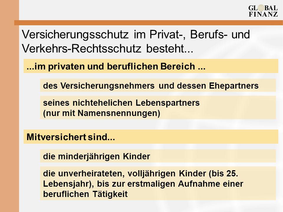 Versicherungsschutz im Privat-, Berufs- und Verkehrs-Rechtsschutz besteht......im privaten und beruflichen Bereich... des Versicherungsnehmers und des