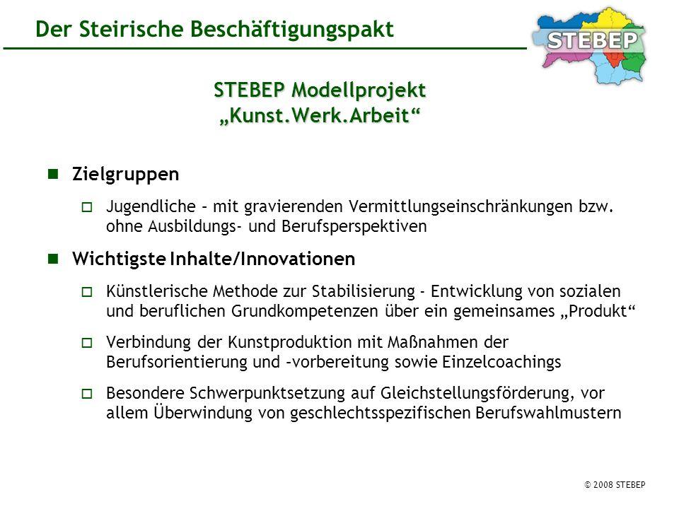 © 2008 STEBEP Der Steirische Beschäftigungspakt STEBEP Modellprojekt Kunst.Werk.Arbeit Zielgruppen Jugendliche – mit gravierenden Vermittlungseinschränkungen bzw.