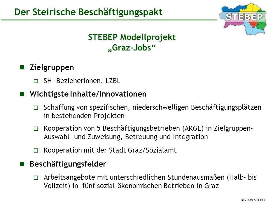© 2008 STEBEP Der Steirische Beschäftigungspakt STEBEP Modellprojekt Graz-Jobs Zielgruppen SH- BezieherInnen, LZBL Wichtigste Inhalte/Innovationen Schaffung von spezifischen, niederschwelligen Beschäftigungsplätzen in bestehenden Projekten Kooperation von 5 Beschäftigungsbetrieben (ARGE) in Zielgruppen- Auswahl- und Zuweisung, Betreuung und Integration Kooperation mit der Stadt Graz/Sozialamt Beschäftigungsfelder Arbeitsangebote mit unterschiedlichen Stundenausmaßen (Halb- bis Vollzeit) in fünf sozial-ökonomischen Betrieben in Graz