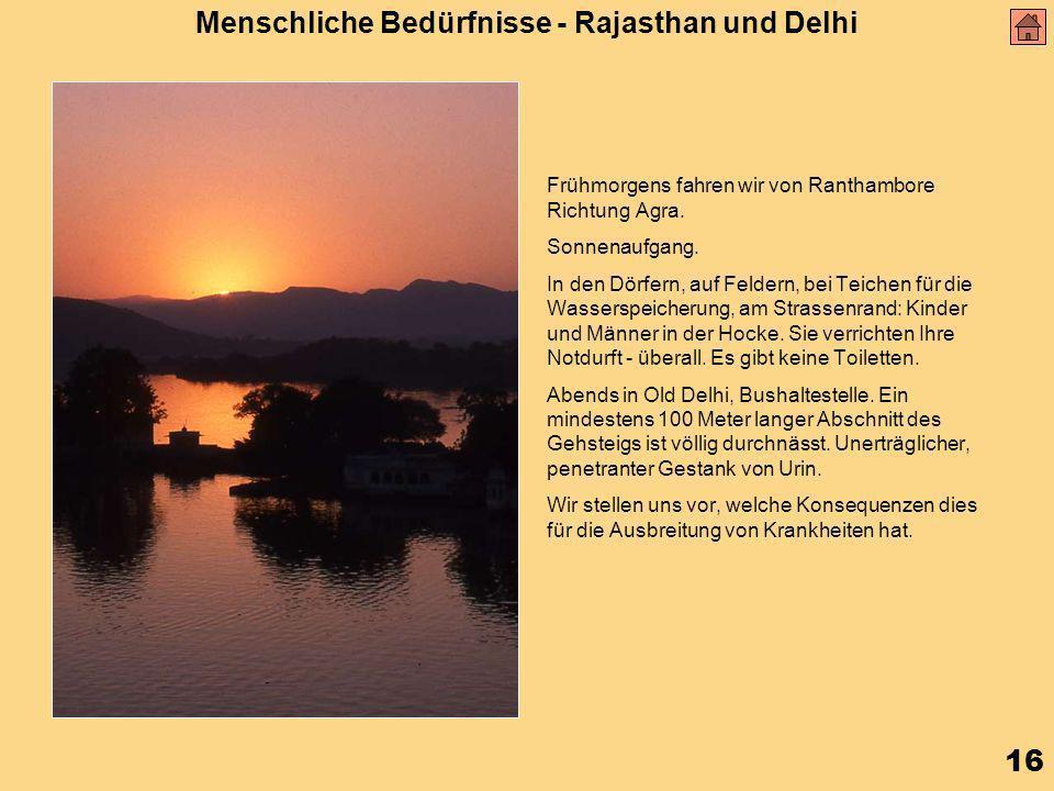 16 Menschliche Bedürfnisse - Rajasthan und Delhi Frühmorgens fahren wir von Ranthambore Richtung Agra.