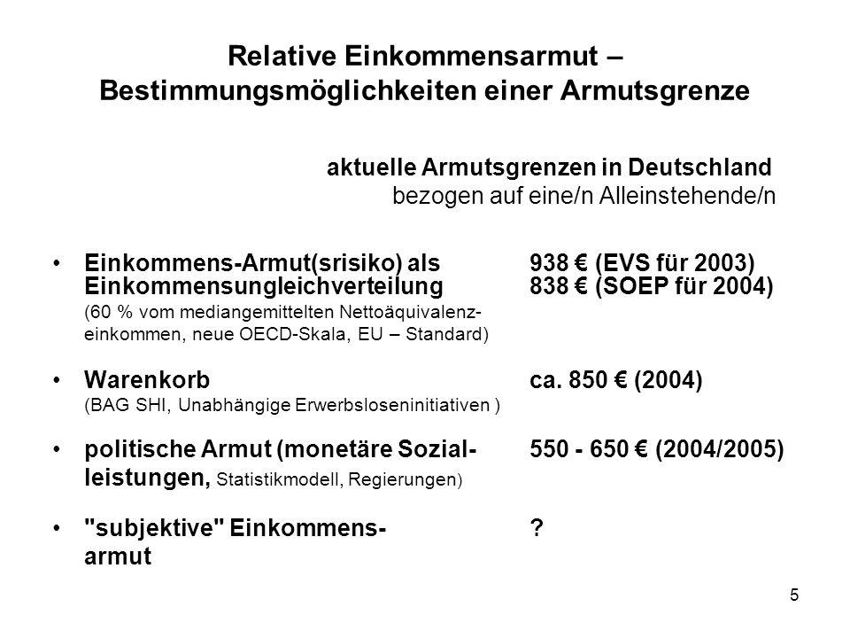 5 Relative Einkommensarmut – Bestimmungsmöglichkeiten einer Armutsgrenze aktuelle Armutsgrenzen in Deutschland bezogen auf eine/n Alleinstehende/n Ein