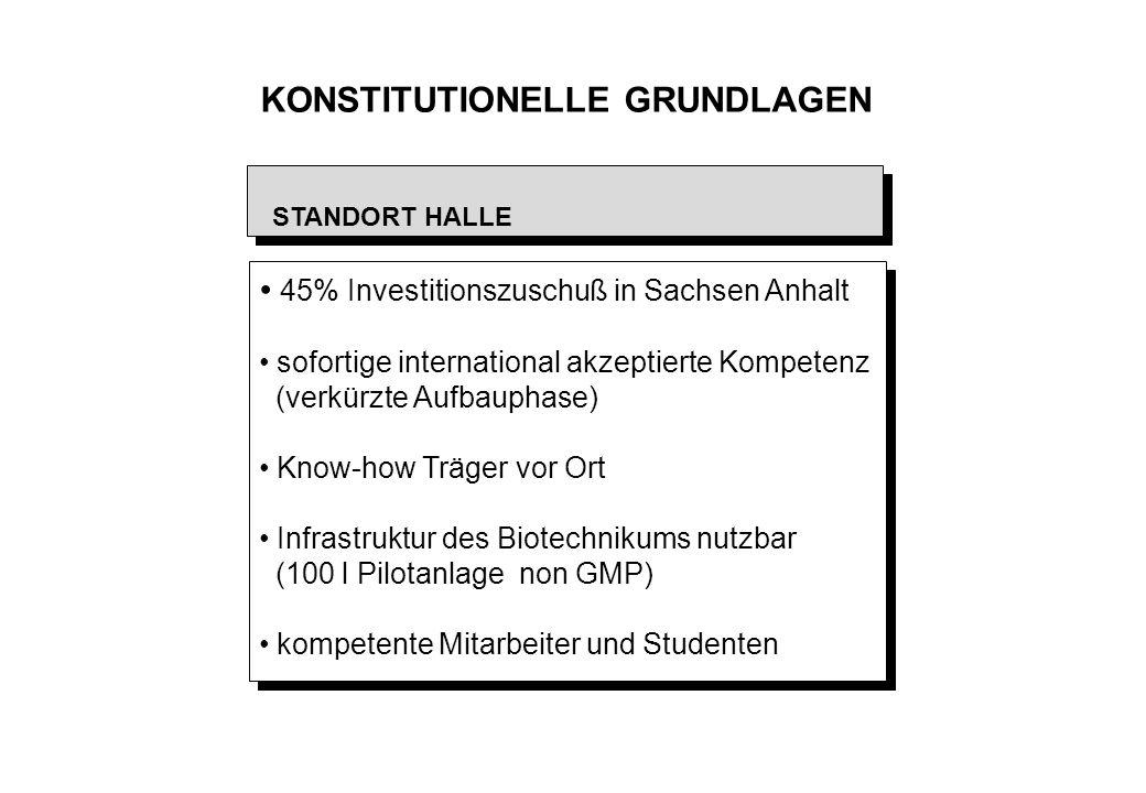 KONSTITUTIONELLE GRUNDLAGEN 45% Investitionszuschuß in Sachsen Anhalt sofortige international akzeptierte Kompetenz (verkürzte Aufbauphase) Know-how T