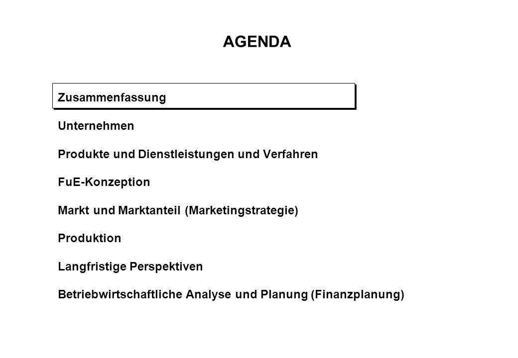 AGENDA Zusammenfassung Unternehmen Produkte und Dienstleistungen und Verfahren FuE-Konzeption Markt und Marktanteil (Marketingstrategie) Produktion La