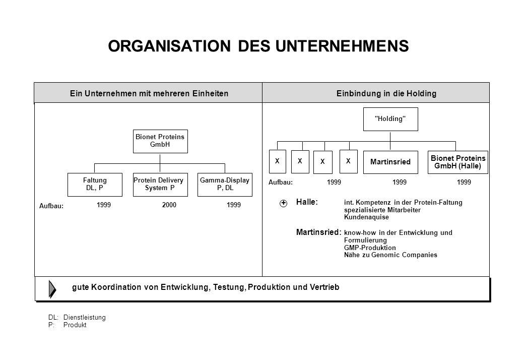 ORGANISATION DES UNTERNEHMENS DL:Dienstleistung P:Produkt Ein Unternehmen mit mehreren Einheiten