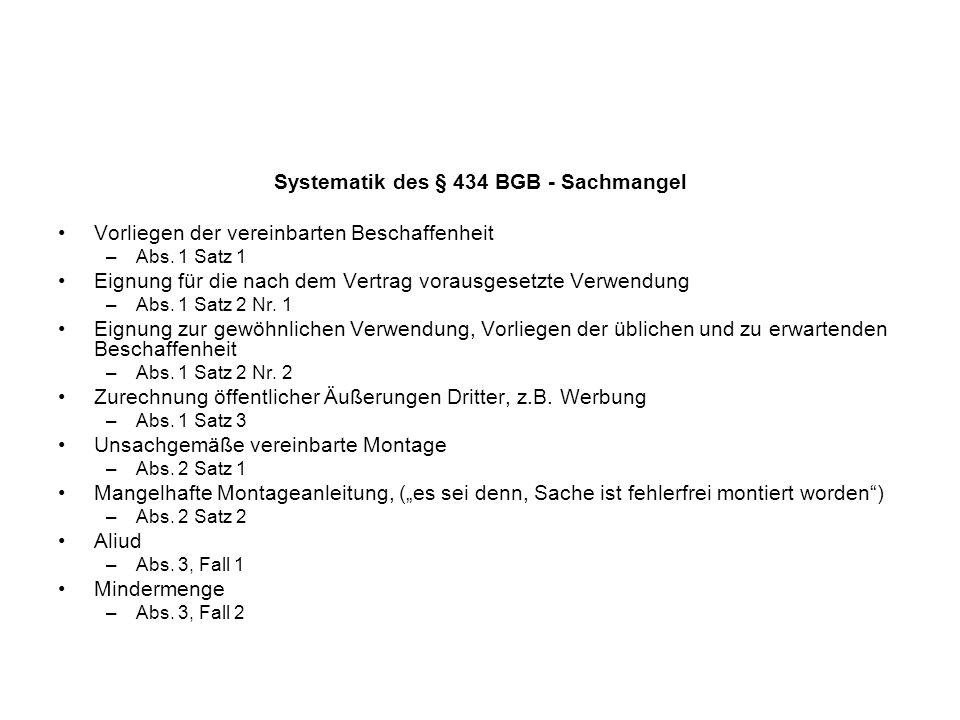 Systematik des § 434 BGB - Sachmangel Vorliegen der vereinbarten Beschaffenheit –Abs. 1 Satz 1 Eignung für die nach dem Vertrag vorausgesetzte Verwend