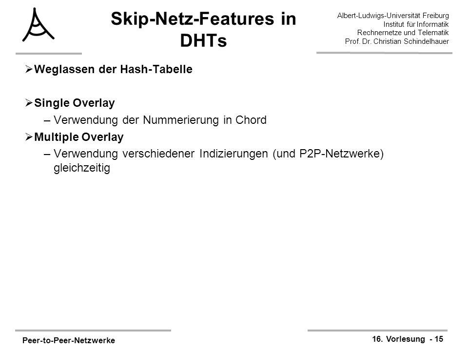 Peer-to-Peer-Netzwerke 16. Vorlesung - 15 Albert-Ludwigs-Universität Freiburg Institut für Informatik Rechnernetze und Telematik Prof. Dr. Christian S