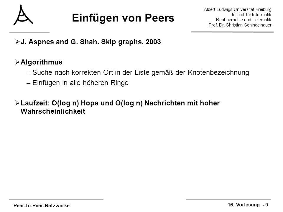 Peer-to-Peer-Netzwerke 16. Vorlesung - 9 Albert-Ludwigs-Universität Freiburg Institut für Informatik Rechnernetze und Telematik Prof. Dr. Christian Sc
