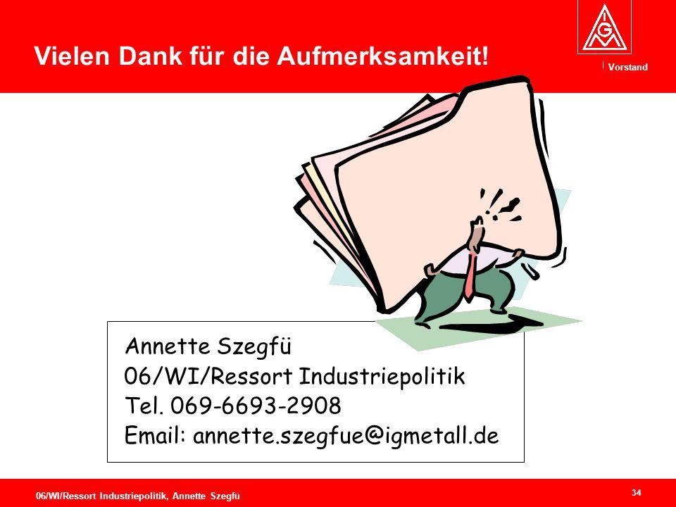 Vorstand 34 06/WI/Ressort Industriepolitik, Annette Szegfü Vielen Dank für die Aufmerksamkeit.