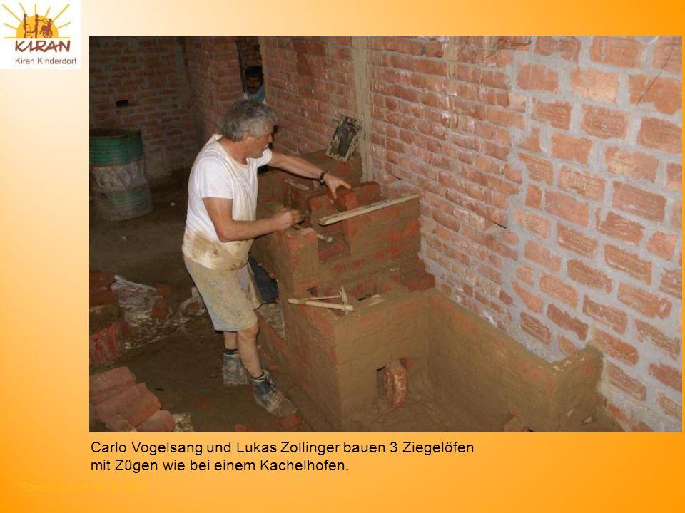 Rotmonten HV 17. 6. 2012 Carlo Vogelsang und Lukas Zollinger bauen 3 Ziegelöfen mit Zügen wie bei einem Kachelhofen.