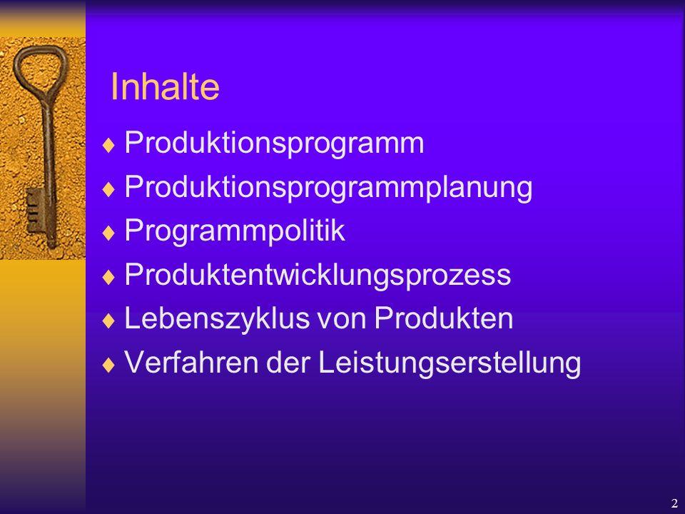 2 Inhalte Produktionsprogramm Produktionsprogrammplanung Programmpolitik Produktentwicklungsprozess Lebenszyklus von Produkten Verfahren der Leistungserstellung