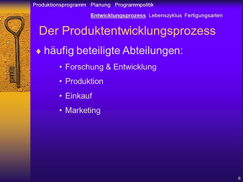6 Der Produktentwicklungsprozess häufig beteiligte Abteilungen: Forschung & Entwicklung Produktion Einkauf Marketing Produktionsprogramm Planung Programmpolitik Entwicklungsprozess Lebenszyklus Fertigungsarten