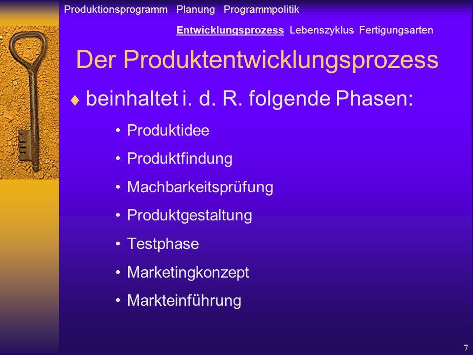 7 Der Produktentwicklungsprozess beinhaltet i.d. R.