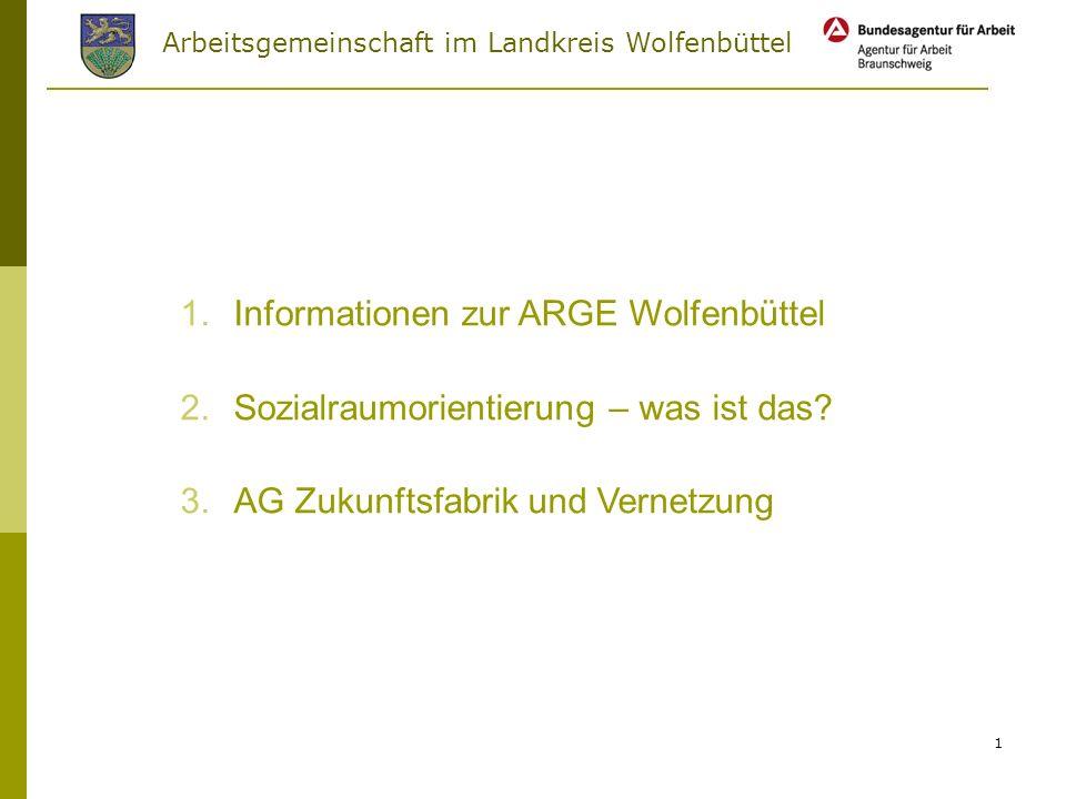 Arbeitsgemeinschaft im Landkreis Wolfenbüttel 1 1.Informationen zur ARGE Wolfenbüttel 2.Sozialraumorientierung – was ist das.