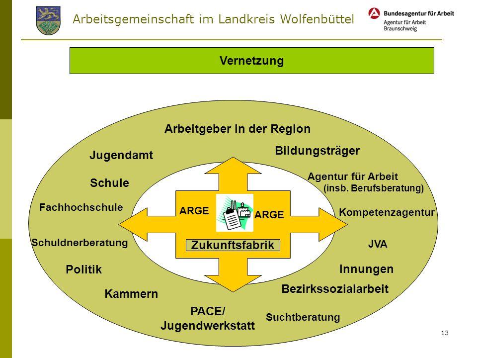 Arbeitsgemeinschaft im Landkreis Wolfenbüttel 12 Zukunftsfabrik Inhalte Erwerb von Schulabschlüssen Erwerb beruflicher Teilabschlüsse Praktika bei Unt