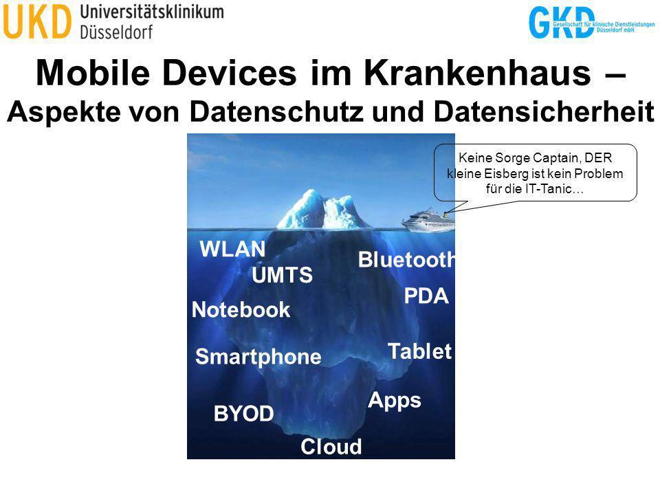Management Software Eigene Anforderungen mit Anbieter abgleichen Anbieter (Auswahl ohne Anspruch auf Vollständigkeit): –7P Group (7P MDM) http://www.7p-group.com/portfolio/leistungen/effizienz-durch-mobilitaet/ –MobileIron http://smartling.mobileiron.com/en/germany –Sophos (smartMan) http://www.dialogs.de/de_DE/produkte/smartman.html –Sybase (Afaria) http://www.sybase.de/mobilize –Symantec (Endpoint Protection, Mobile Management, Access Control, SafeGuard Easy) http://www.symantec.com/de/de/theme.jsp?themeid=sep-family http://www.symantec.com/de/de/mobile-management http://www.symantec.com/de/de/network-access-protection http://www.symantec.com/business/support/index?page=content&id=TECH30951 –T-Systems (SiMKO) http://www.t-systems.de/tsip/de/754852/start/branchen/oeffentlicher-sektor/aeussere- innere-sicherheit/aeussere-innere-sicherheit –Thinking Objects (Auralis) http://www.to.com/auralis.988.0.html –Ubitexx (ubi-Suite) http://www.ubitexx.com/language/de-de/products/multiplatform_management Lizenzkosten: 30 bis 100 Euro / Client Beispiel: Klinikum mit 1000 Clients = 30.000 bis 100.000 Euro