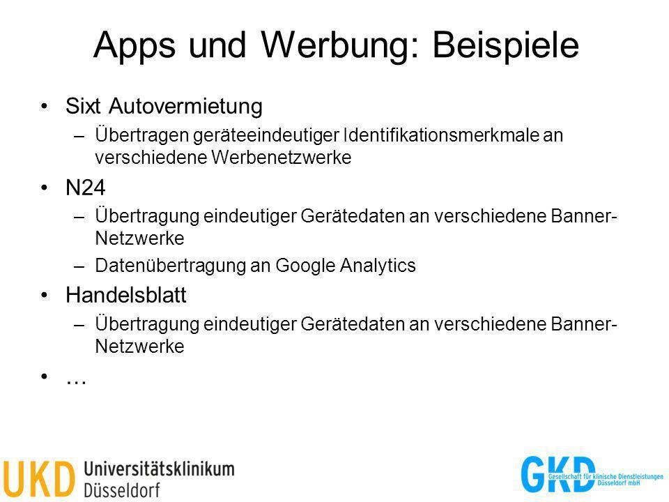 Apps und Werbung: Beispiele Sixt Autovermietung –Übertragen geräteeindeutiger Identifikationsmerkmale an verschiedene Werbenetzwerke N24 –Übertragung