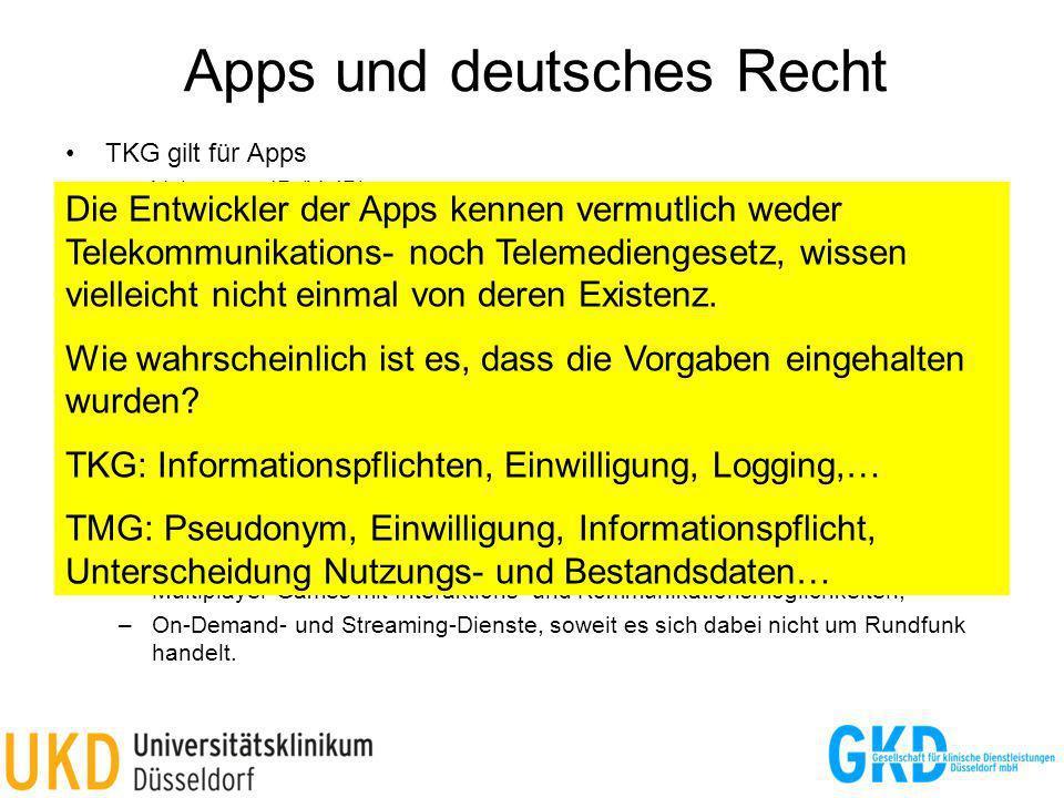 Apps und deutsches Recht TKG gilt für Apps –Voice over IP (VoIP) –Nutzung einer eigenen Infrastruktur außerhalb des öffentlichen Internets –Selbststän