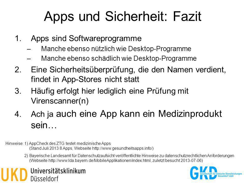 Apps und Sicherheit: Fazit 1.Apps sind Softwareprogramme –Manche ebenso nützlich wie Desktop-Programme –Manche ebenso schädlich wie Desktop-Programme