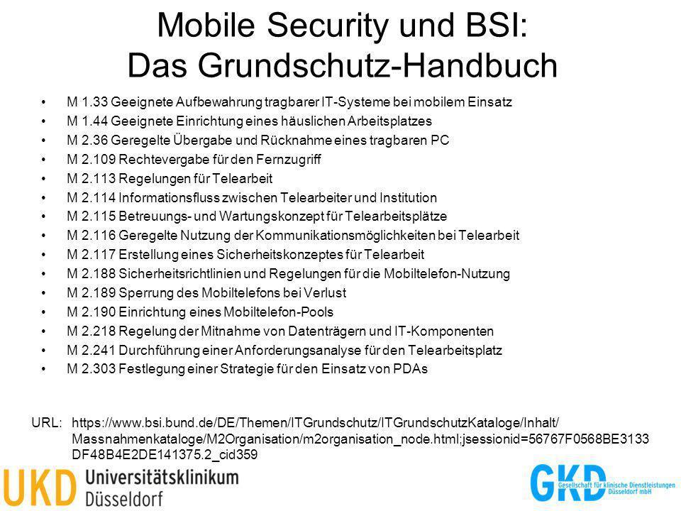 Mobile Security und BSI: Das Grundschutz-Handbuch M 1.33 Geeignete Aufbewahrung tragbarer IT-Systeme bei mobilem Einsatz M 1.44 Geeignete Einrichtung