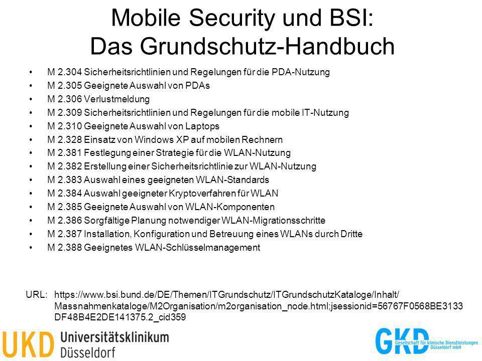 Mobile Security und BSI: Das Grundschutz-Handbuch M 2.304 Sicherheitsrichtlinien und Regelungen für die PDA-Nutzung M 2.305 Geeignete Auswahl von PDAs