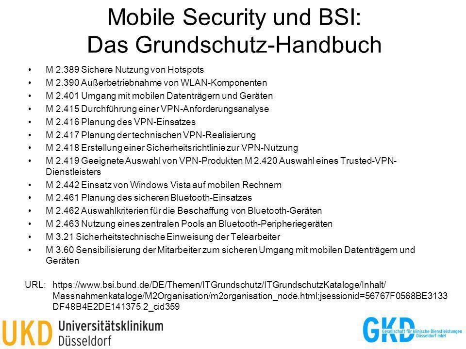 Mobile Security und BSI: Das Grundschutz-Handbuch M 2.389 Sichere Nutzung von Hotspots M 2.390 Außerbetriebnahme von WLAN-Komponenten M 2.401 Umgang m