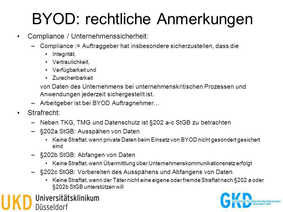 BYOD: rechtliche Anmerkungen Compliance / Unternehmenssicherheit: –Compliance := Auftraggeber hat insbesondere sicherzustellen, dass die Integrität, V