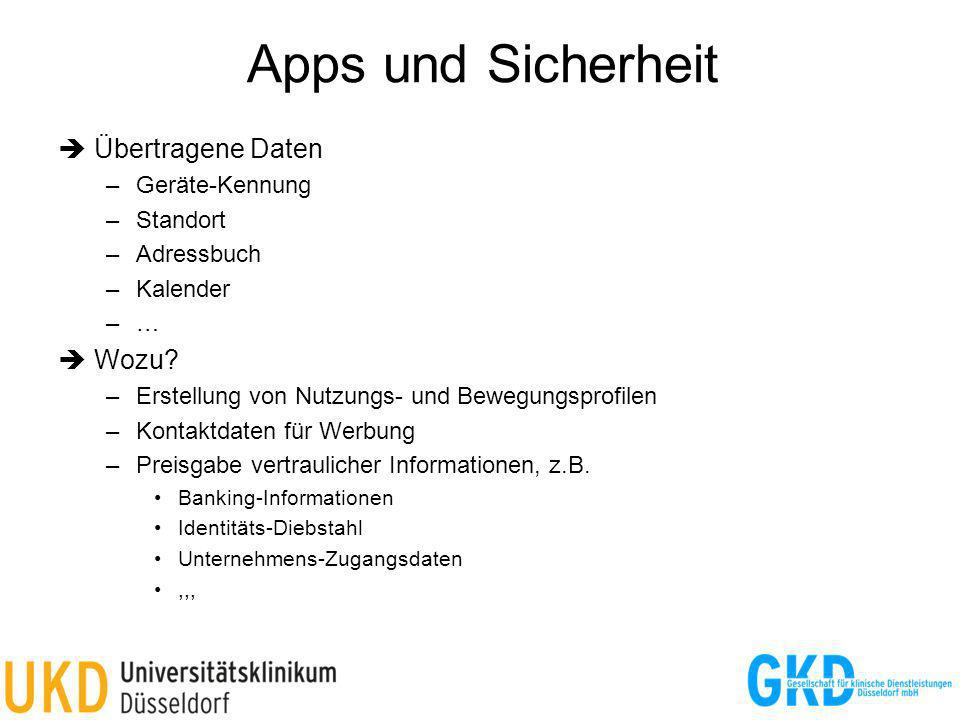 Apps und Sicherheit Übertragene Daten –Geräte-Kennung –Standort –Adressbuch –Kalender –… Wozu? –Erstellung von Nutzungs- und Bewegungsprofilen –Kontak